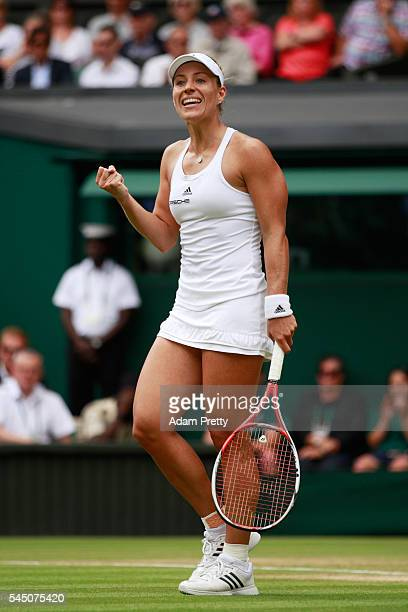 Angelique Kerber of Germany celebrates victory during the Ladies Singles Quarter Finals match against Simona Halep of Romania on day eight of the...