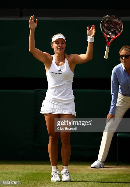 Angelique Kerber of Germany celebrates victory during the Ladies Singles Semi Final match against Venus Williams of The United States on day ten of...