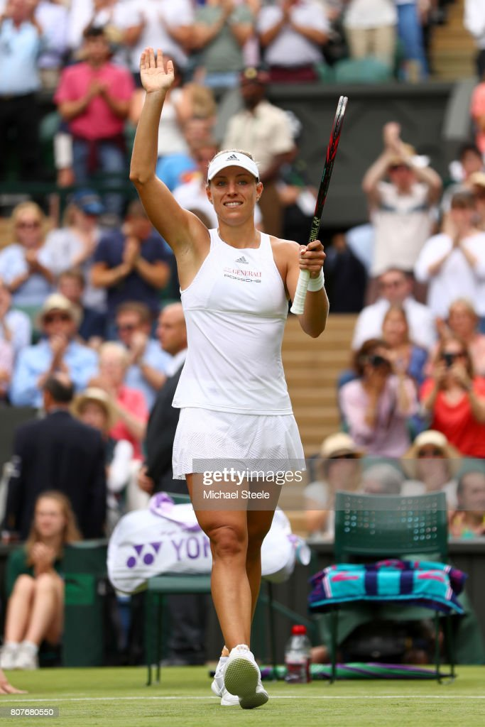 Angelique Kerber of Germany celebrates victory during the Ladies Singles first round match against Irina Falconi of the United States on day two of the Wimbledon Lawn Tennis Championships at the All England Lawn Tennis and Croquet Club on July 4, 2017 in London, England.