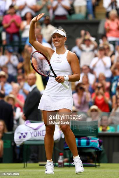 Angelique Kerber of Germany celebrates victory during the Ladies Singles first round match against Irina Falconi of the United States on day two of...