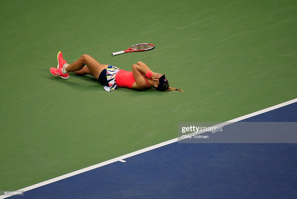 Angelique Kerber of Germany celebrates winning (6-3) (4-6) (6-4) against Karolina Pliskova of the Czech Republic during their Women's Singles Final Match on Day Thirteen of the 2016 US Open at the USTA Billie Jean King National Tennis Center on September 10, 2016 in the Queens borough of New York City.