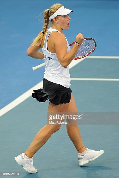 Angelique Kerber of Germany celebrates winning her match against Casey Dellacqua of Australia during the Fed Cup Semi Final tie between Australia and...