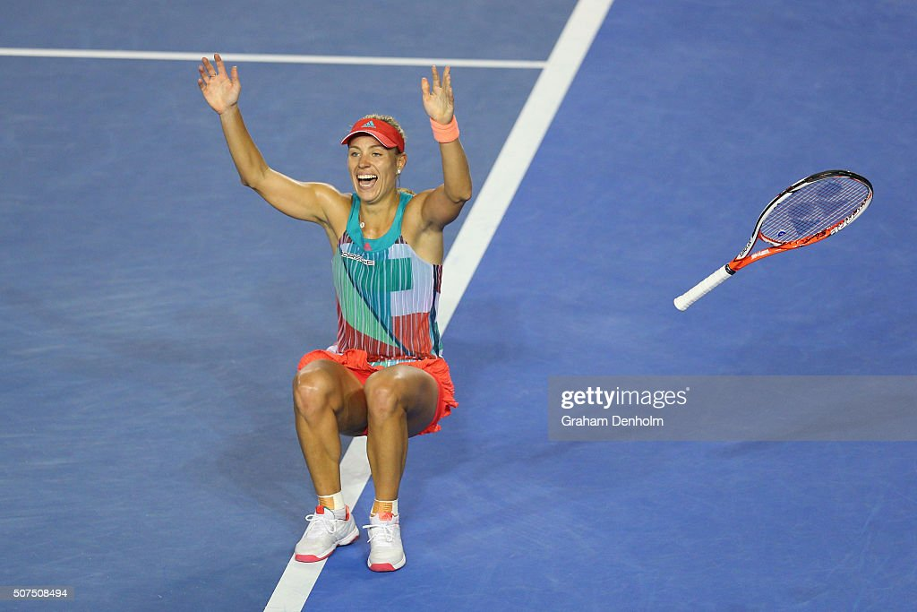 <a gi-track='captionPersonalityLinkClicked' href=/galleries/search?phrase=Angelique+Kerber&family=editorial&specificpeople=4307332 ng-click='$event.stopPropagation()'>Angelique Kerber</a> of Germany celebrates winning the Women's Singles Final against Serena Williams of the United States during day 13 of the 2016 Australian Open at Melbourne Park on January 30, 2016 in Melbourne, Australia.