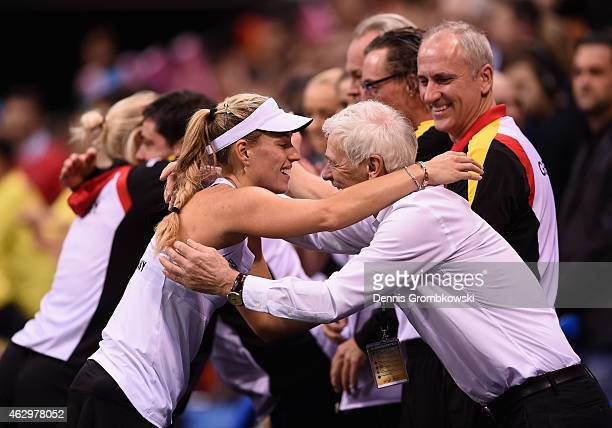 Angelique Kerber of Germany celebrates with staff after her single match against Samantha Stosur of Australia during the Fed Cup 2015 World Group...