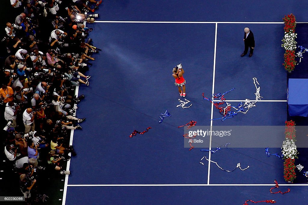 Angelique Kerber of Germany celebrates with the trophy after winning (6-3), (4-6), (6-4) against Karolina Pliskova of the Czech Republic during their Women's Singles Final Match on Day Thirteen of the 2016 US Open at the USTA Billie Jean King National Tennis Center on September 10, 2016 in the Flushing neighborhood of the Queens borough of New York City.