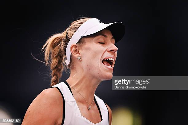 Angelique Kerber of Germany despairs during her match against Belinda Bencic of Switzerland on Day 2 of the 2016 FedCup World Group Round 1 match...