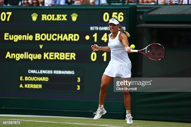Angelique Kerber of Germany during her Ladies' Singles quarterfinal match against Eugenie Bouchard of Canada on day nine of the Wimbledon Lawn Tennis...