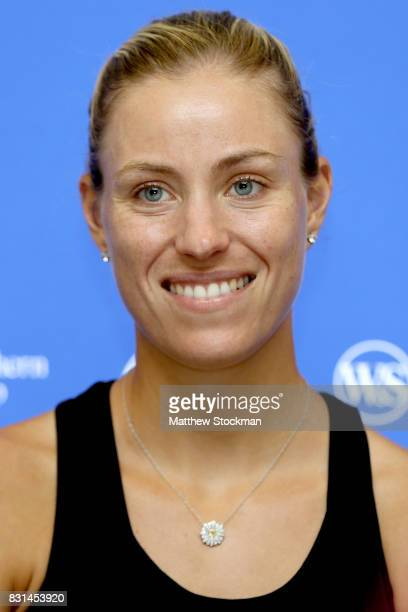 Angelique Kerber of Germany fields questions from the media during day 3 of the Western Southern Open at the Lindner Family Tennis Center on August...