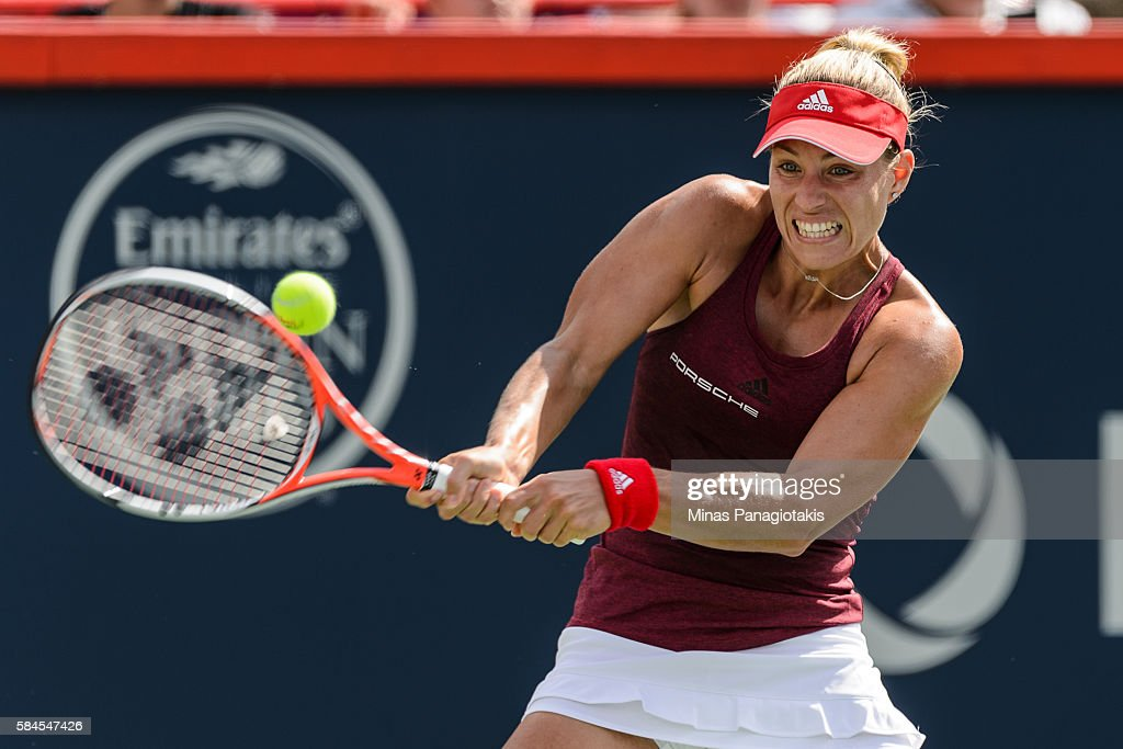 Angelique Kerber of Germany hits a return against Darya Kasatkina of Russia during day five of the Rogers Cup at Uniprix Stadium on July 29 2016 in...