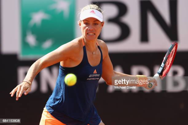 Angelique Kerber of Germany in action against Anett Kontaveit of Estonia in the women's second round match on Day Four of The Internazionali BNL...