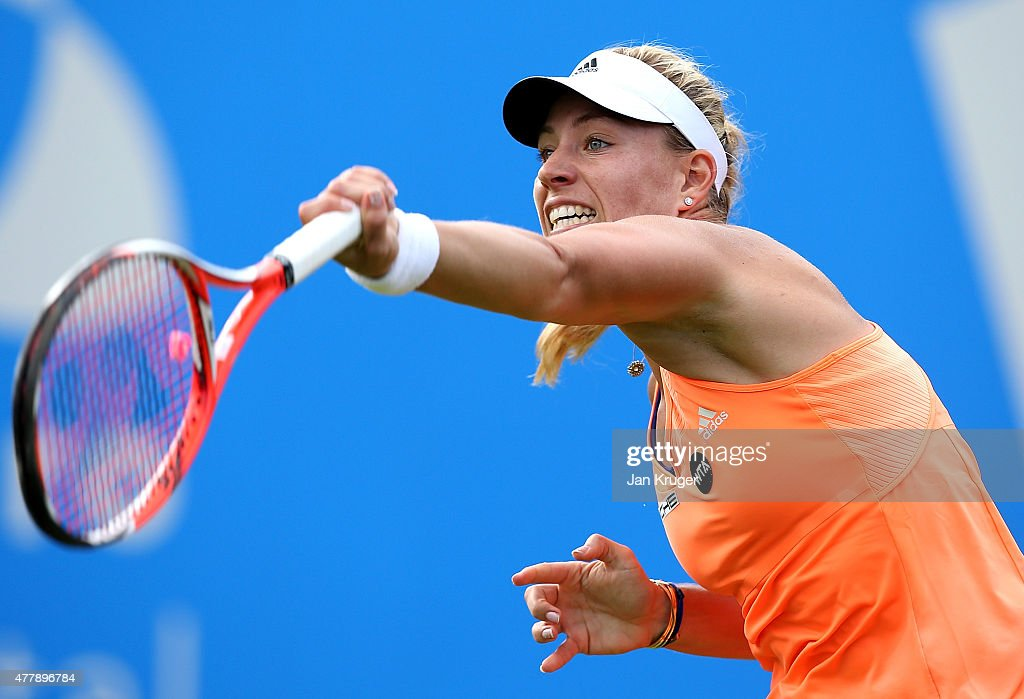 Angelique Kerber of Germany in action against Sabine Lisicki of Germany in their semi final match on day six of the Aegon Classic at Edgbaston Priory Club on June 20, 2015 in Birmingham, England.