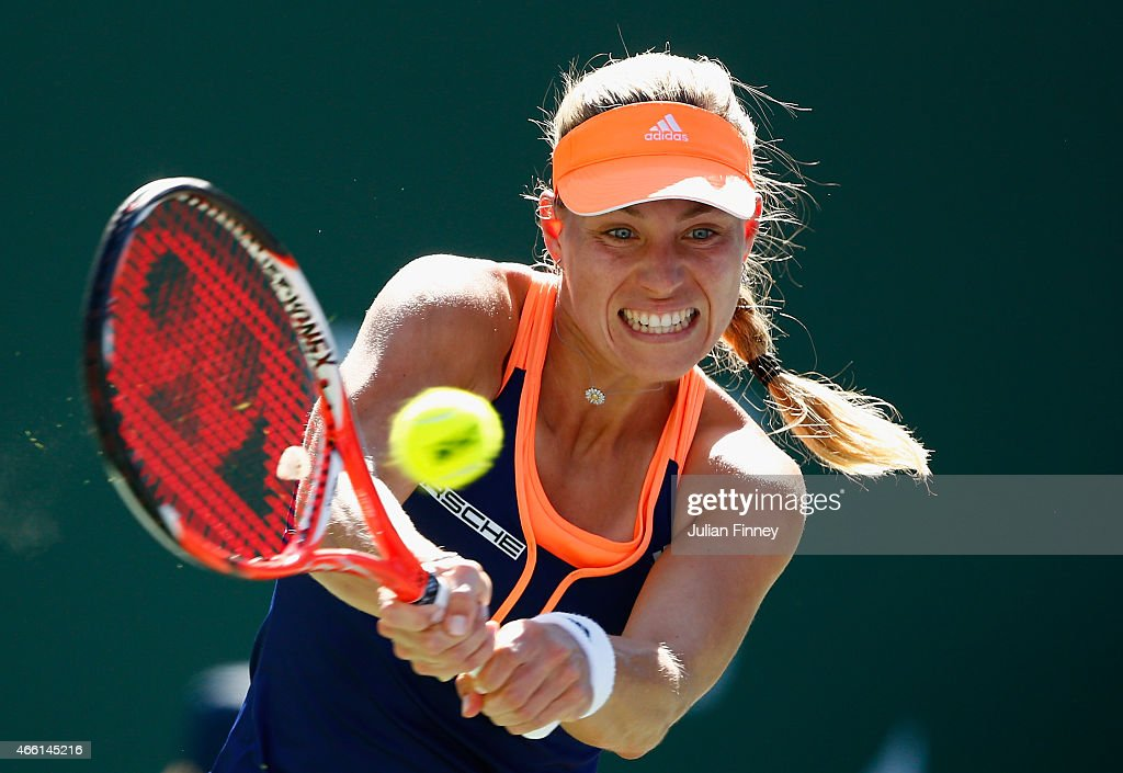 Angelique Kerber of Germany in action against Sloane Stephens of USA during day five of the BNP Paribas Open tennis at the Indian Wells Tennis Garden on March 13, 2015 in Indian Wells, California.