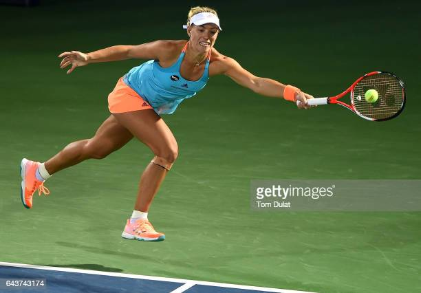 Angelique Kerber of Germany in action during her match against Monica Puig of Puerto Rico on day four of the WTA Dubai Duty Free Tennis Championship...