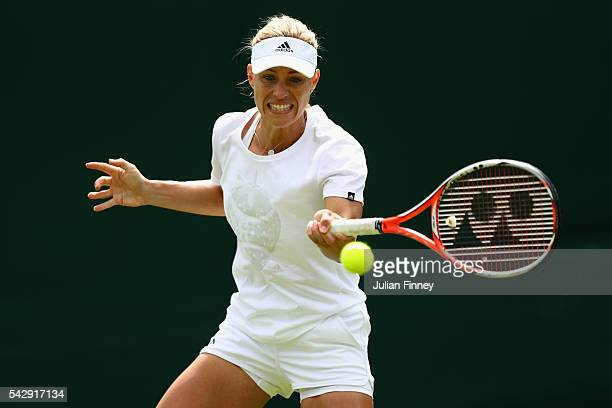 Angelique Kerber of Germany in action during previews for Wimbledon Tennis 2016 at Wimbledon on June 25 2016 in London England
