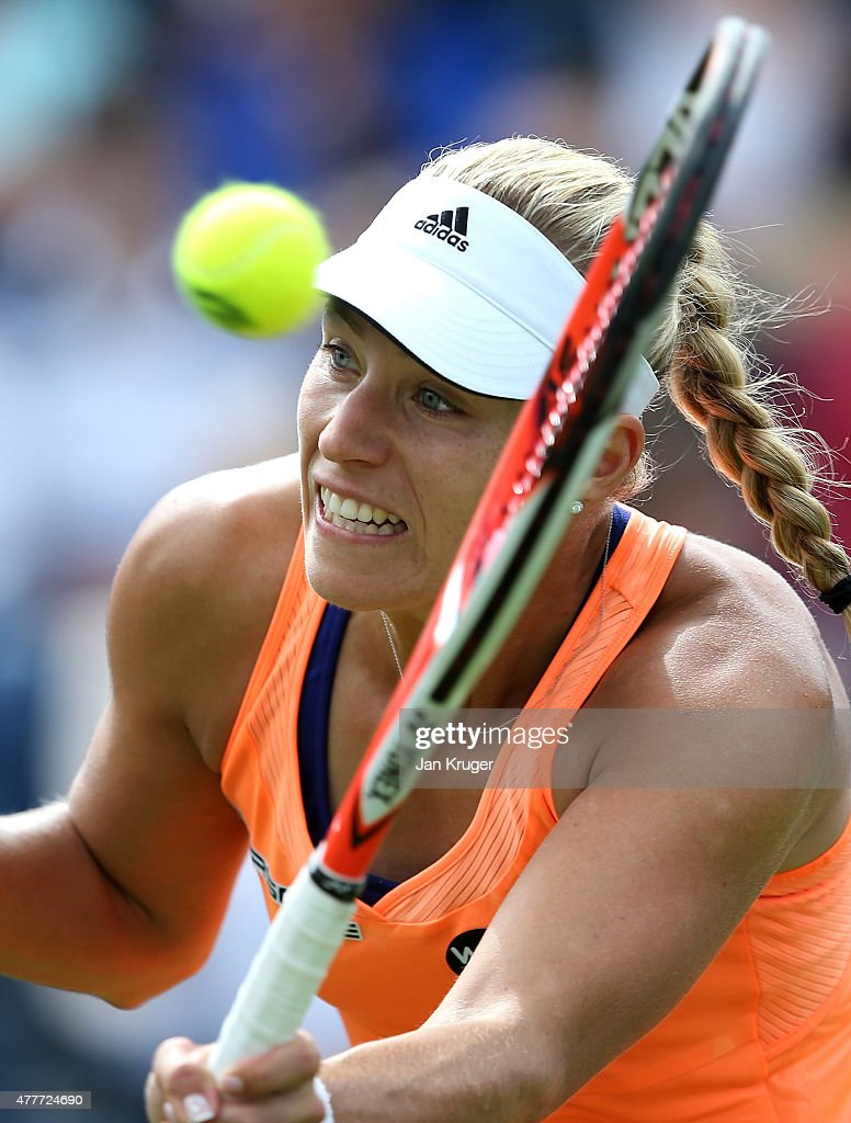 Angelique Kerber of Germany in action in in her quarter finals match over Katerina Siniakova of Czech Republic on day five of the Aegon Classic at Edgbaston Priory Club on June 19, 2015 in Birmingham, England.