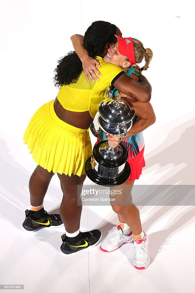 Angelique Kerber of Germany is congratulated by Serena Williams of the United States after winning the Women's Singles Final on day 13 of the 2016 Australian Open at Melbourne Park on January 30, 2016 in Melbourne, Australia.