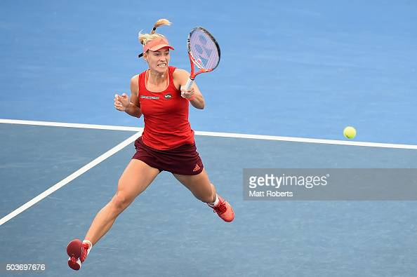 Angelique Kerber of Germany plays a forehand against Anastasia Pavlyuchenkova of Russia during day five of the 2016 Brisbane International at Pat...