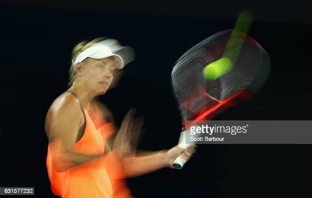 Angelique Kerber of Germany plays a forehand during a practice session ahead of the 2017 Australian Open at Melbourne Park on January 13 2017 in...