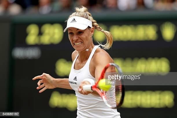 Angelique Kerber of Germany plays a forehand during the Ladies Singles Final against Serena Williams of The United States on day twelve of the...