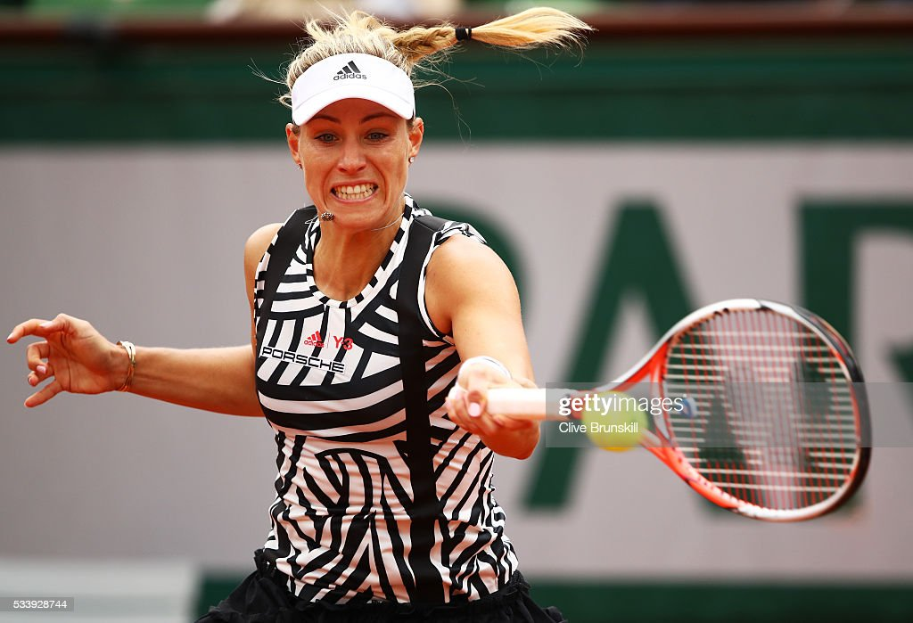 <a gi-track='captionPersonalityLinkClicked' href=/galleries/search?phrase=Angelique+Kerber&family=editorial&specificpeople=4307332 ng-click='$event.stopPropagation()'>Angelique Kerber</a> of Germany plays a forehand during the Women's Singles first round match against Kiki Bertens of the Netherlands on day three of the 2016 French Open at Roland Garros on May 24, 2016 in Paris, France.