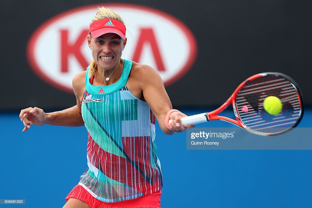 <a gi-track='captionPersonalityLinkClicked' href=/galleries/search?phrase=Angelique+Kerber&family=editorial&specificpeople=4307332 ng-click='$event.stopPropagation()'>Angelique Kerber</a> of Germany plays a forehand in her first round match against Misaki Doi of Japan during day two of the 2016 Australian Open at Melbourne Park on January 19, 2016 in Melbourne, Australia.