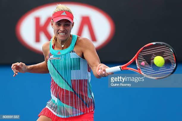 Angelique Kerber of Germany plays a forehand in her first round match against Misaki Doi of Japan during day two of the 2016 Australian Open at...