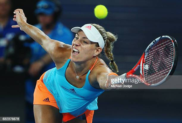 Angelique Kerber of Germany plays a forehand in her fourth round match against Coco Vanderweghe of the USA on day seven of the 2017 Australian Open...