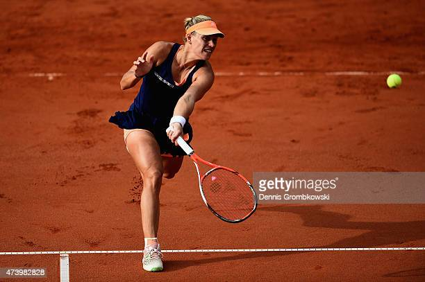 Angelique Kerber of Germany plays a forehand in her match against Klara Koukalova of Czech Republic during Day Four of the Nuernberger...