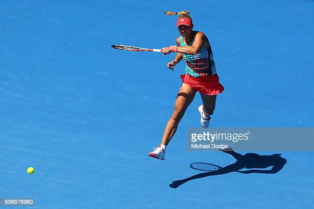Angelique Kerber of Germany plays a forehand in her quarter final match against Victoria Azarenka of Belarus during day 10 of the 2016 Australian...