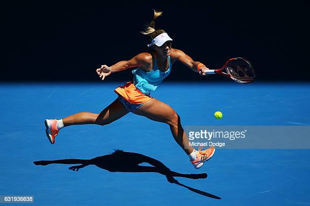 Angelique Kerber of Germany plays a forehand in her second round match against Carina Witthoeft of Germany on day three of the 2017 Australian Open...