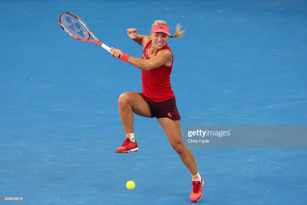 Angelique Kerber of Germany plays a forehand in her semi final match against Carla Suarez Navaro of Spain during day six of the 2016 Brisbane International at Pat Rafter Arena on January 8, 2016 in Brisbane, Australia.