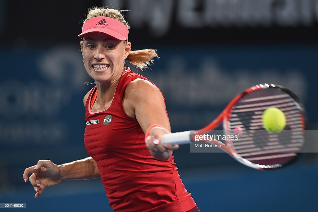Angelique Kerber of Germany plays a forehand in the Women's Final against Victoria Azarenka of Belarus during day seven of the 2016 Brisbane...