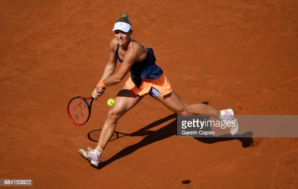 Angelique Kerber of Germany plays a shot against Anett Kontaveit of of Estoniaduring their second round match in The Internazionali BNL d'Italia 2017...