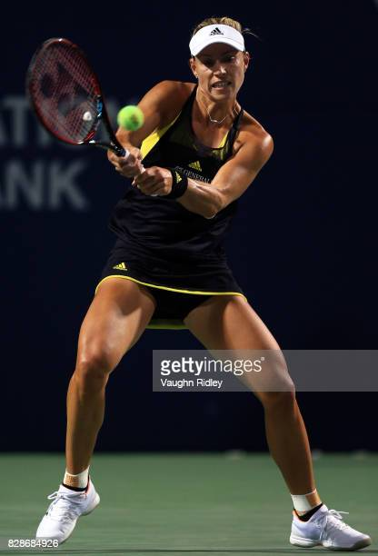Angelique Kerber of Germany plays a shot against Donna Vekic of Croatia during Day 5 of the Rogers Cup at Aviva Centre on August 9 2017 in Toronto...