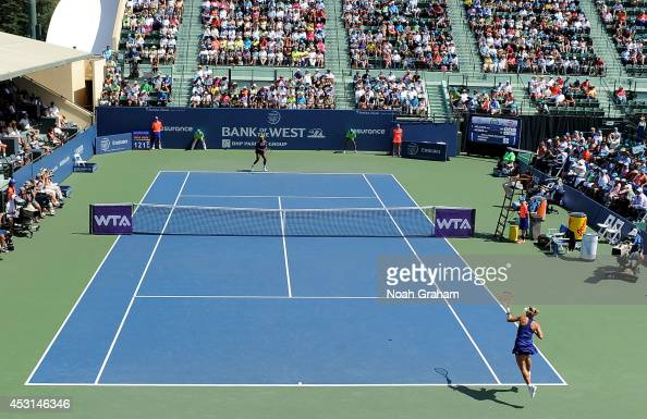 Angelique Kerber of Germany plays against Serena Williams of the USA in the finals of the Bank of the West Classic at the Taube Family Tennis Stadium...