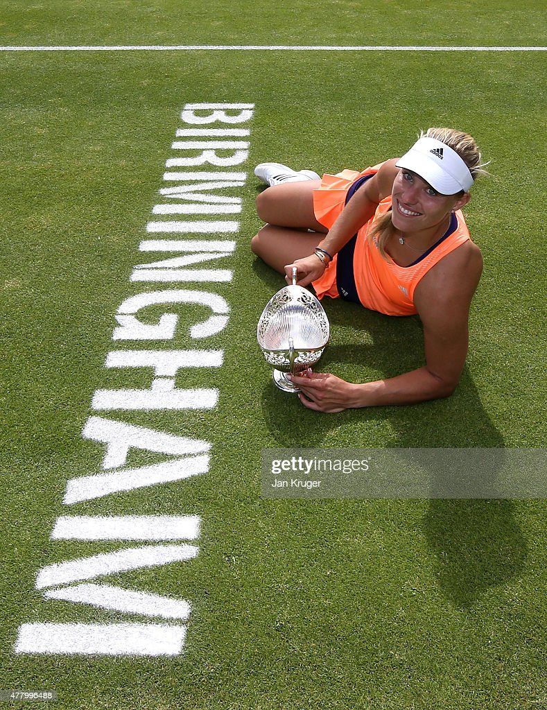 Angelique Kerber of Germany poses after victory in her singles final match against Karolina Pliskova of Czech Republic on day seven of the Aegon Classic at Edgbaston Priory Club on June 21, 2015 in Birmingham, England.
