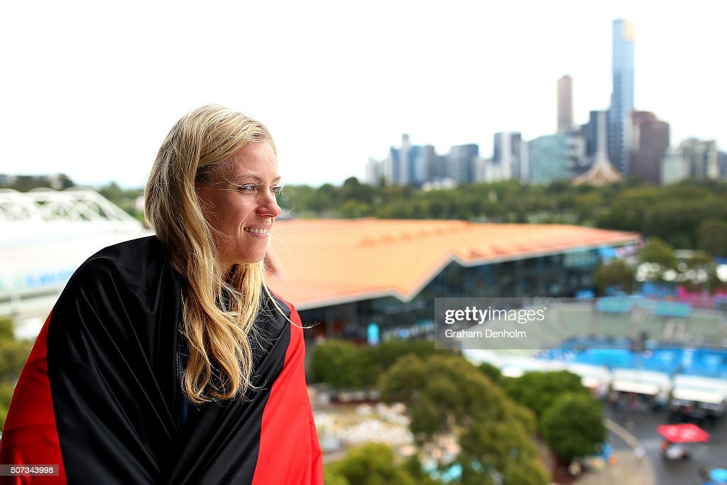 <a gi-track='captionPersonalityLinkClicked' href=/galleries/search?phrase=Angelique+Kerber&family=editorial&specificpeople=4307332 ng-click='$event.stopPropagation()'>Angelique Kerber</a> of Germany poses during day twelve of the 2016 Australian Open at Melbourne Park on January 29, 2016 in Melbourne, Australia.