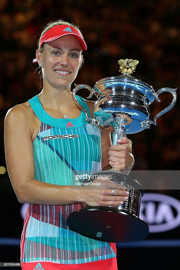 <a gi-track='captionPersonalityLinkClicked' href=/galleries/search?phrase=Angelique+Kerber&family=editorial&specificpeople=4307332 ng-click='$event.stopPropagation()'>Angelique Kerber</a> of Germany poses with the Daphne Akhurst Trophy after winning the Women's Singles Final against Serena Williams of the United States during day 13 of the 2016 Australian Open at Melbourne Park on January 30, 2016 in Melbourne, Australia.