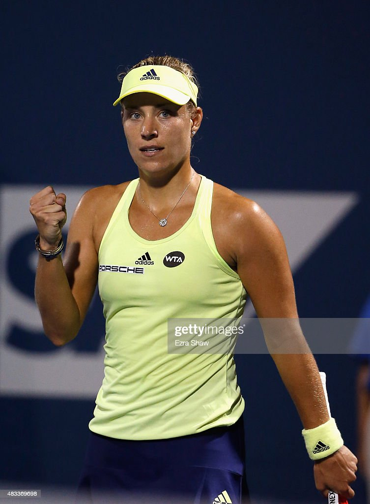 Angelique Kerber of Germany reacts after beating Agnieszka Radwanska of Poland during Day 5 of the Bank of the West Classic at Stanford University Taube Family Tennis Stadium on August 7, 2015 in Stanford, California.