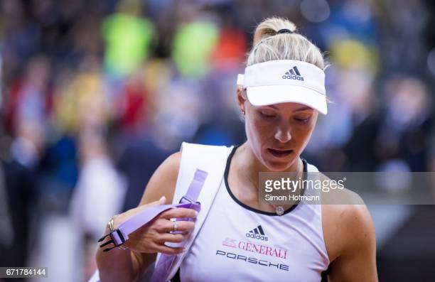 Angelique Kerber of Germany reacts after losing against Elina Svitolina of Ukraine during the FedCup World Group PlayOff match between Germany and...