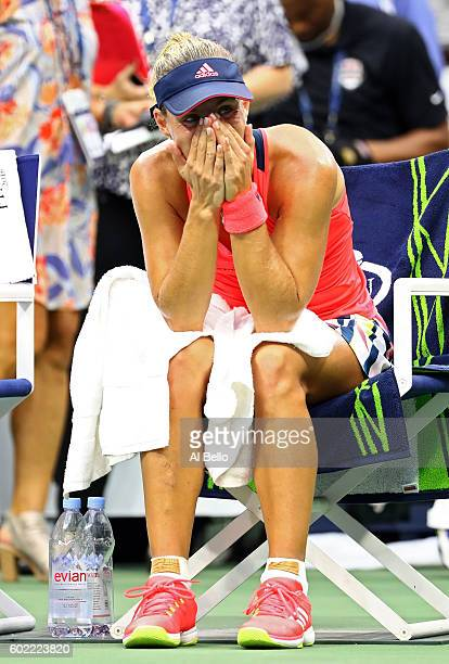 Angelique Kerber of Germany reacts after winning against Karolina Pliskova of the Czech Republic during their Women's Singles Final Match on Day...