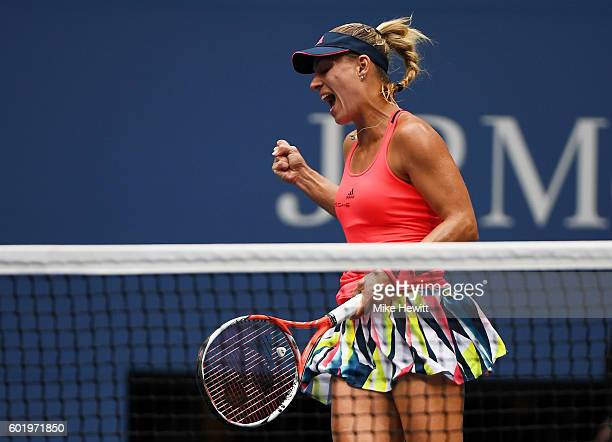 Angelique Kerber of Germany reacts against Karolina Pliskova of the Czech Republic during their Women's Singles Final Match on Day Thirteen of the...