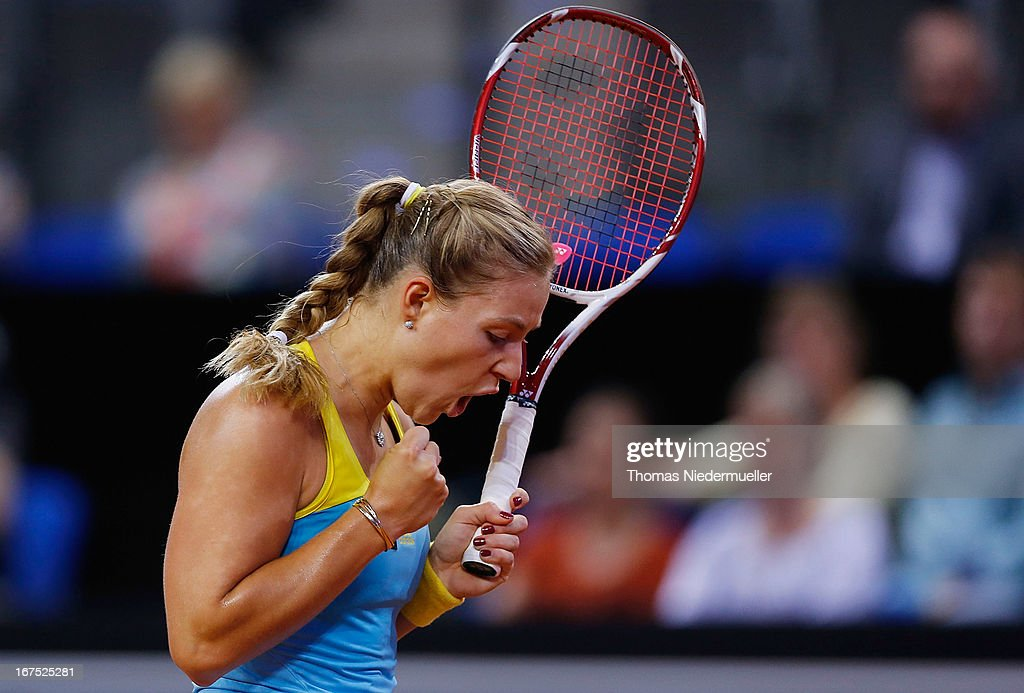 Angelique Kerber of Germany reacts during her match against Yaroslava Shvedova of Kazakhstan during Day 5 of the Porsche Tennis Grand Prix at at Porsche-Arena on April 26, 2013 in Stuttgart, Germany.