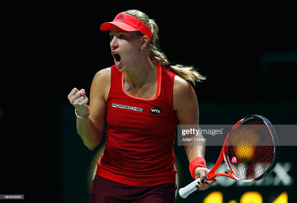 Angelique Kerber of Germany reacts during her round robin match against Petra Kvitova of Czech Republic during the BNP Paribas WTA Finals at Singapore Sports Hub on October 26, 2015 in Singapore.
