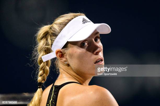 Angelique Kerber of Germany reacts during her second round match of the 2017 Rogers Cup tennis tournament on August 9 at Aviva Centre in Toronto ON...