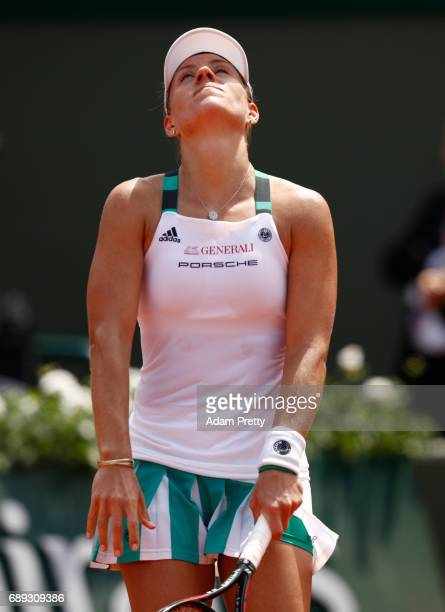 Angelique Kerber of Germany reacts during the ladies singles first round match against Ekaterina Makarova of Russia on day one of the 2017 French...