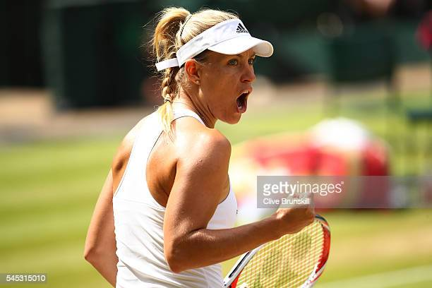 Angelique Kerber of Germany reacts during the Ladies Singles Semi Final match against Venus Williams of The United States on day ten of the Wimbledon...