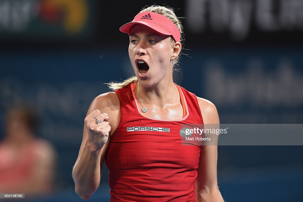 Angelique Kerber of Germany reatcs in her Women's Final against Victoria Azarenka of Belarus during day seven of the 2016 Brisbane International at...