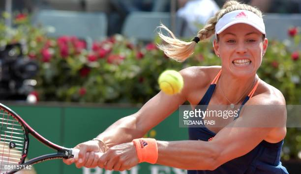 Angelique Kerber of Germany returns a ball to Estonia's Anett Kontaveit during the WTA Tennis Open tournament at the Foro Italico on May 17 2017 in...