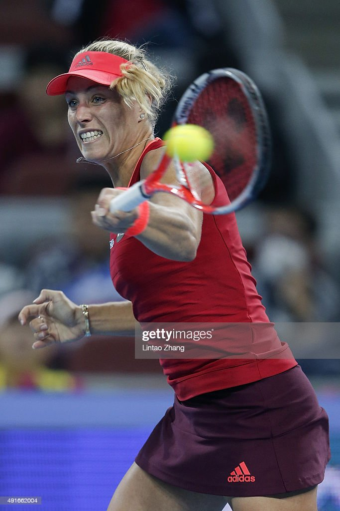 Angelique Kerber of Germany returns a shot against Caroline Wozniacki of Denmark during the Women's singles Second round match on day five of the 2015 China Open at the China National Tennis Centre on October 7, 2015 in Beijing, China.